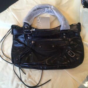 Lush Bags - NWT BLACK LEATHER SATCHEL MOTO BAG W/ accesories